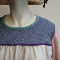 M.&KYOKO ヨークの部分はストレッチの効いたカットソー お袖はニット 身頃は涼し気な布帛