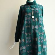 M.&KYOKO 襟と袖がニットのワンピース 人気のグリーン系¥56100税込